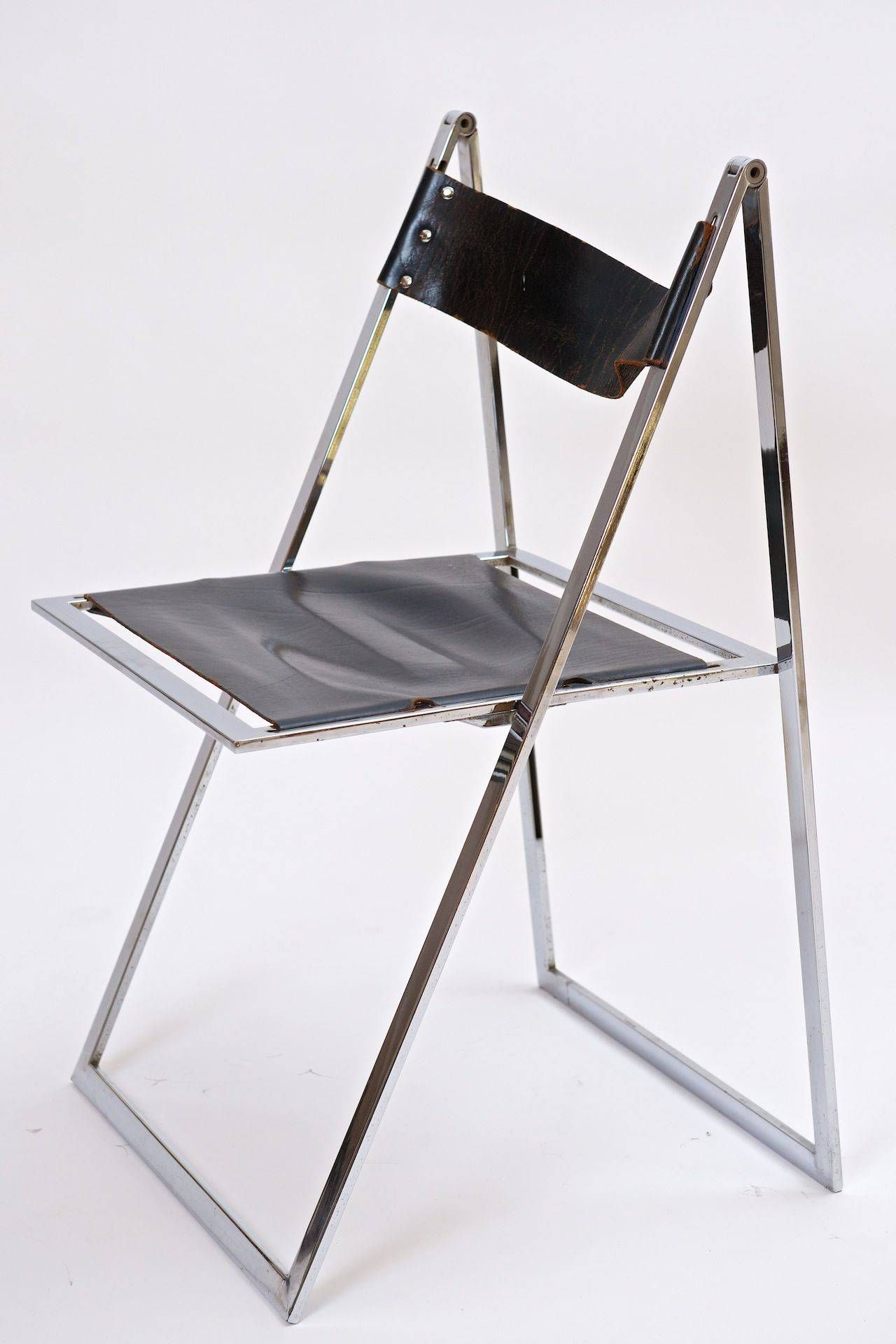 Chrome and Leather Folding Chair Italy 1960s