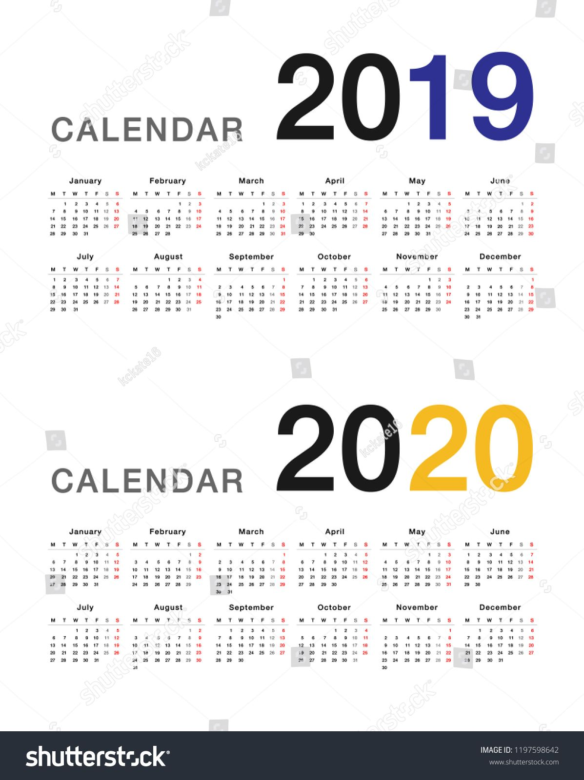 Year 2019 And Year 2020 Calendar Horizontal Vector Design Template