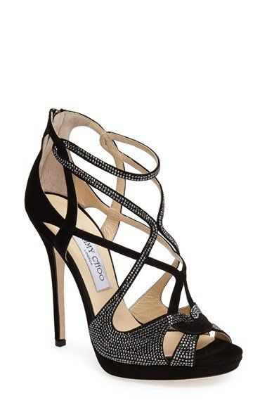 Jimmy Choo 'Vermeil' Crystal Trim Strappy Sandal (Women)   Nordstrom is part of Shoes - Free shipping and returns on Jimmy Choo 'Vermeil' Crystal Trim Strappy Sandal (Women) at Nordstrom com  A dazzling interplay of soft suede and Swarovski crystalkissed straps antes up the sparkling style of this skyhigh soirée sandal