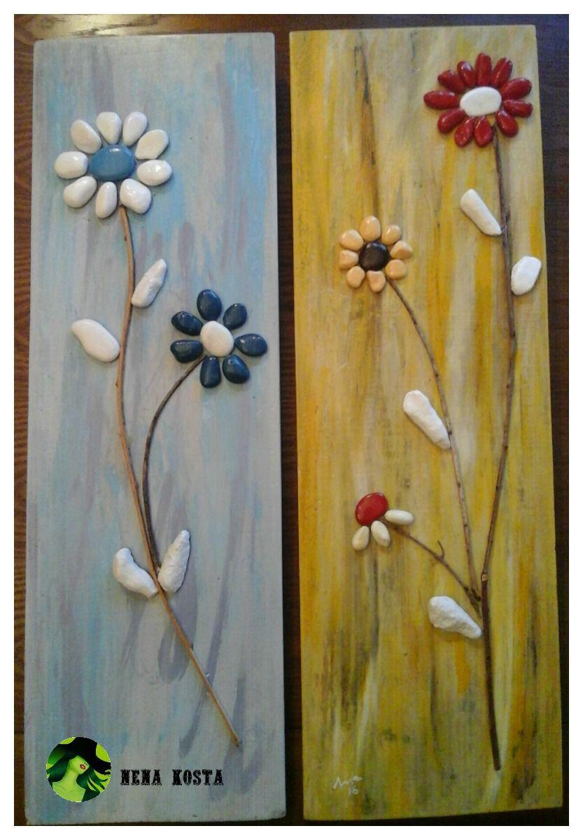 Reciclaje madera decoupage cuadros con piedras caja - Reciclaje de la madera ...