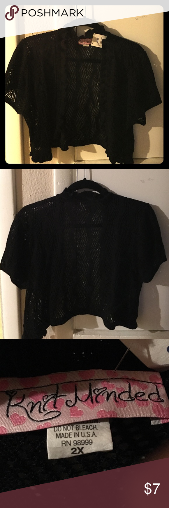 Black Shrug Black little crochet shrug. Great layered over that summer dress for cool evenings. Never been worn with tags. Knit Minded Sweaters Shrugs & Ponchos