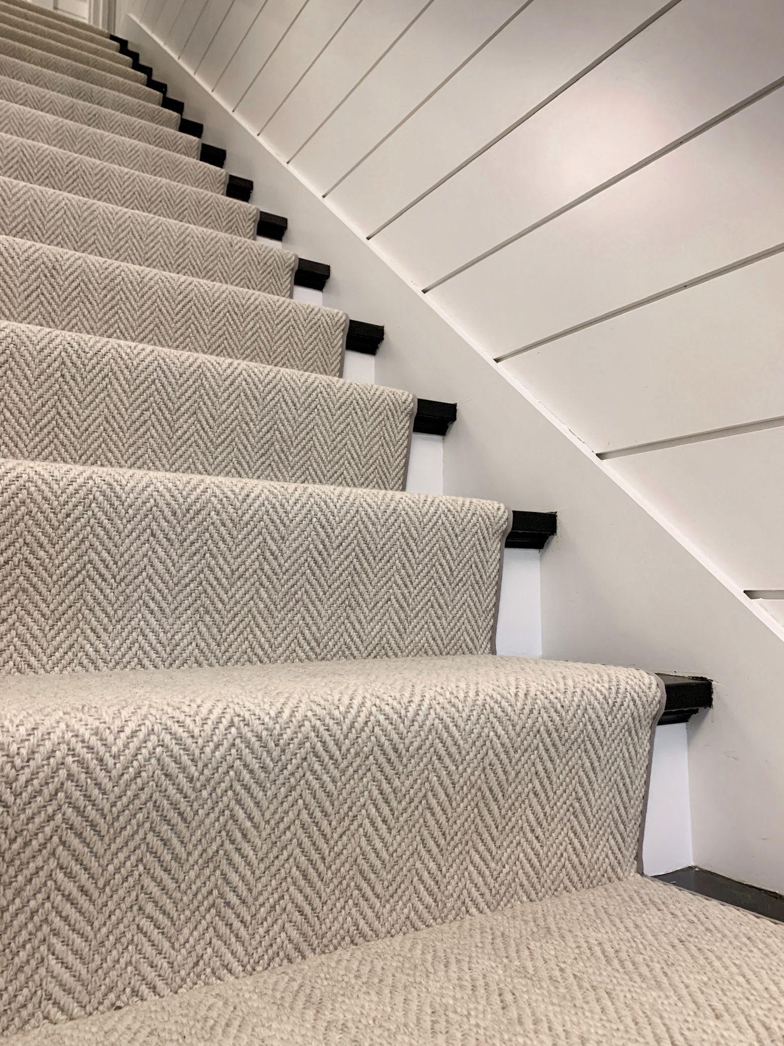 Neutral Herringbone Stair Runner In 2020 Stair Runner Carpet | Grey Herringbone Carpet Stairs | Antelope | Victorian | Middle Stair | Roger Oates | Blue