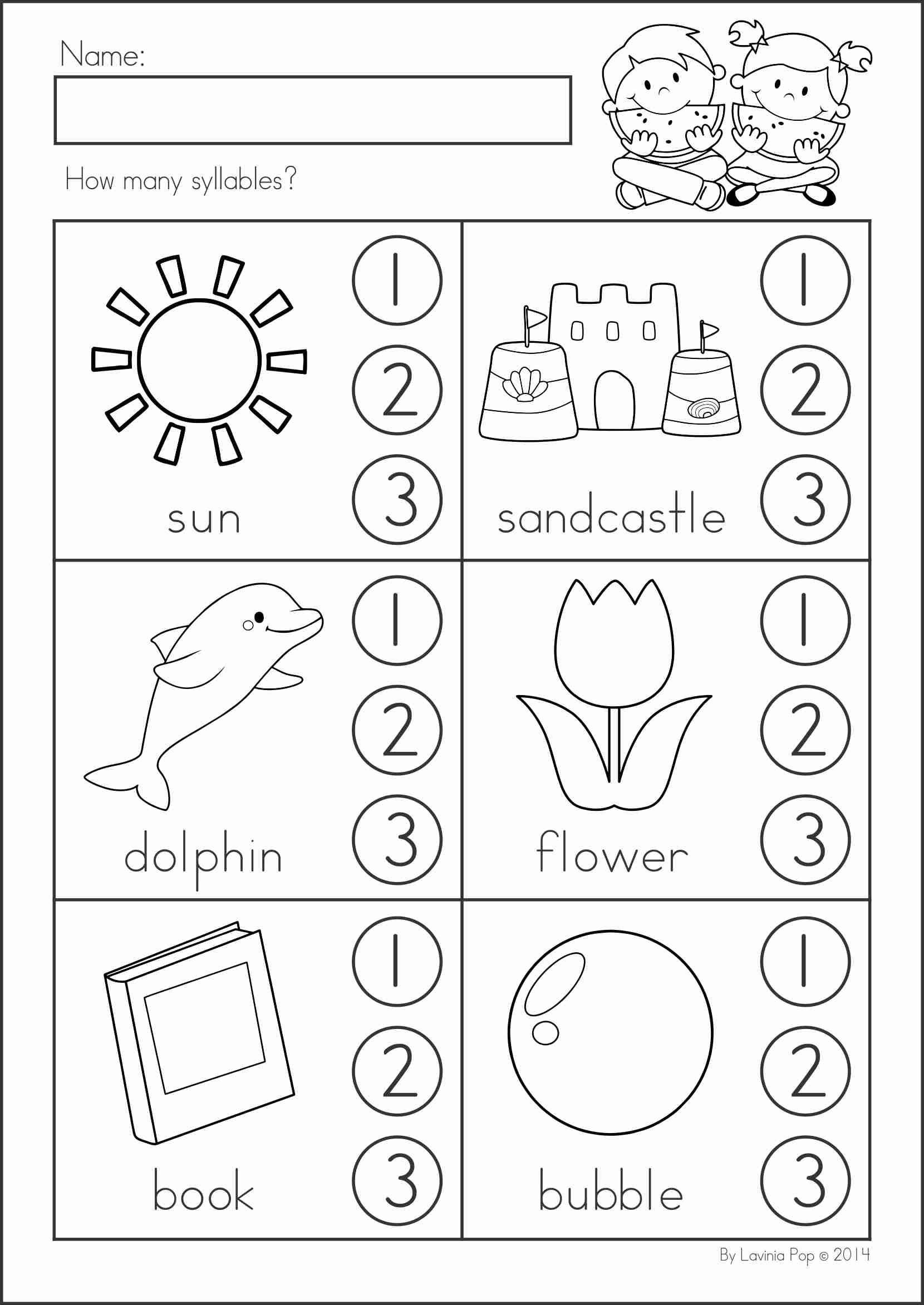 Free Syllable Worksheets For Kindergarten Summer Review