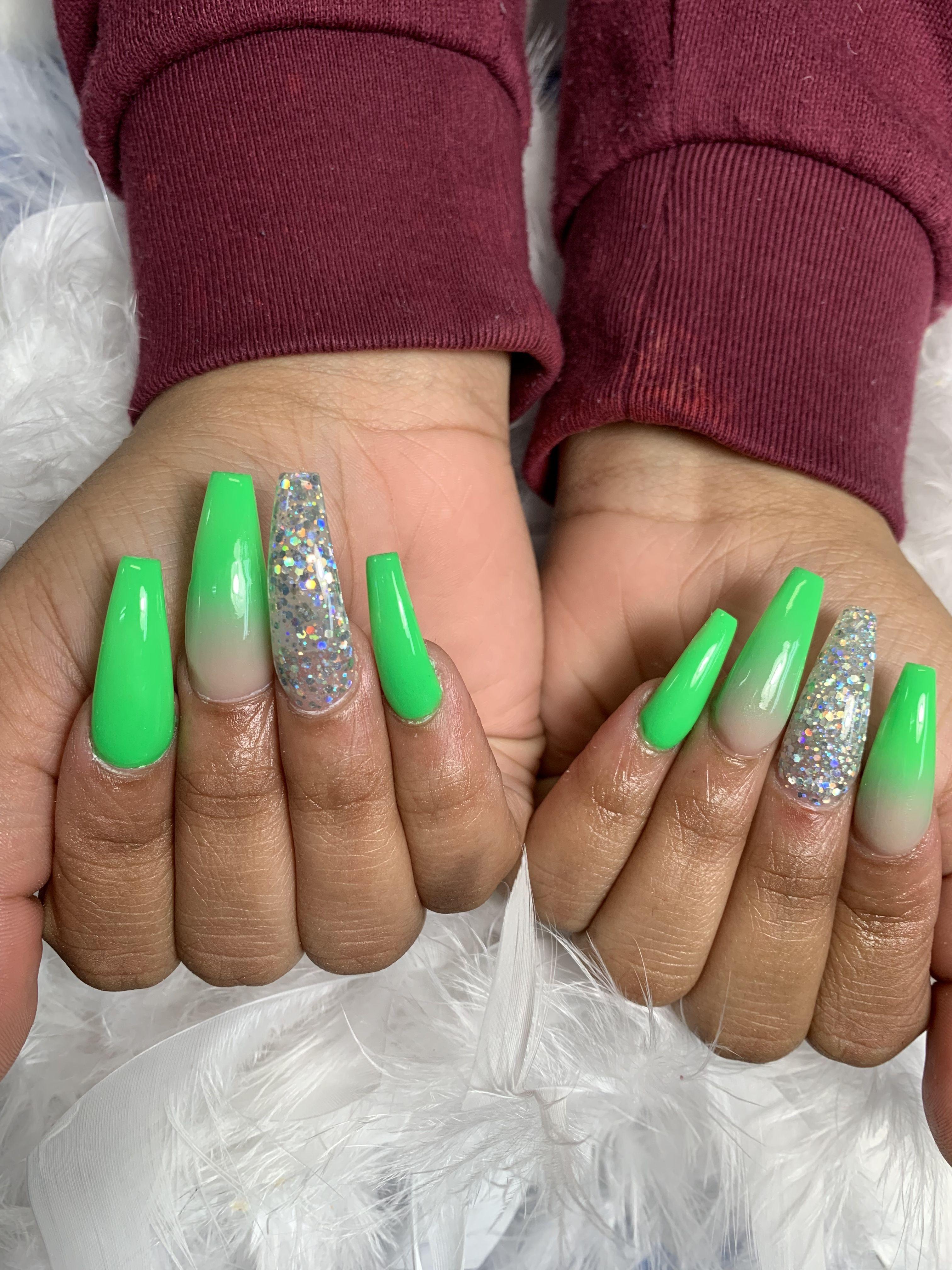 Acrylic Neon Green Glitter Nails