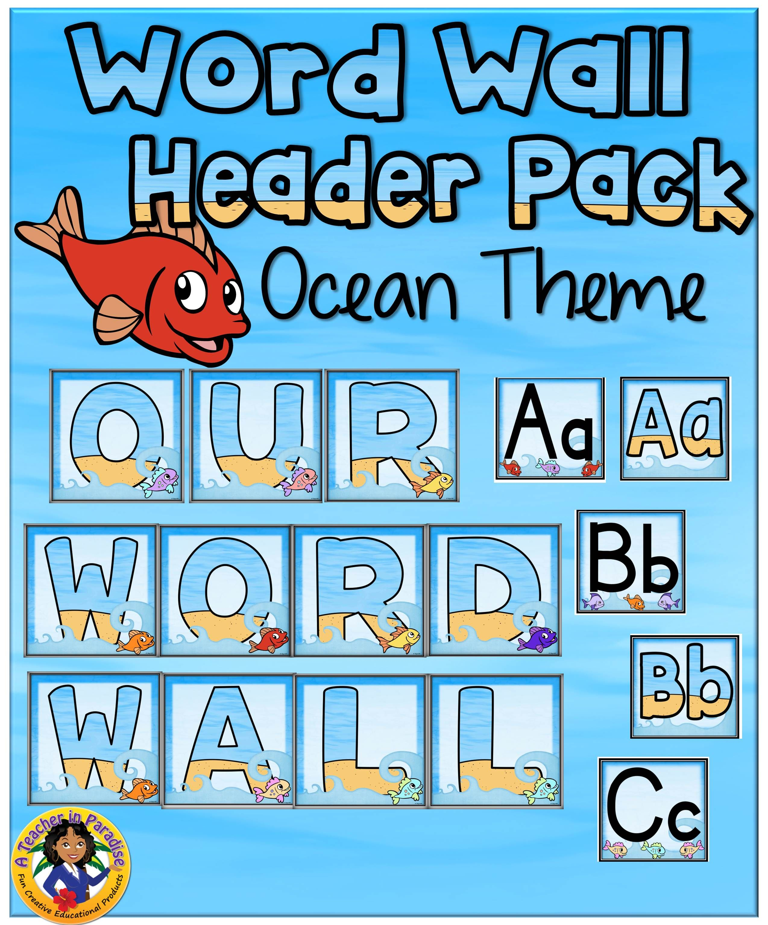 Word Wall Letters Simple Ocean Theme Word Wall Banner And Headers Set  Word Wall Letters Inspiration