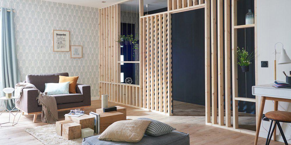 cloison la solution id ale pour d limiter des espaces bois leroy merlin murs bleu fonc et. Black Bedroom Furniture Sets. Home Design Ideas