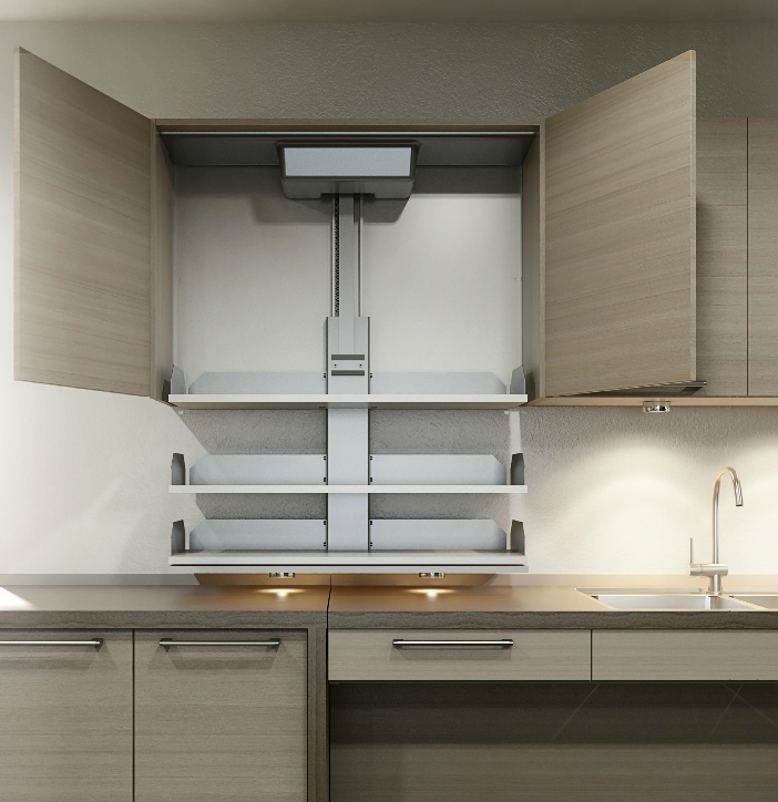 Vertical Shelving Lift Made By Granberg Bring Your Shelving To You With The Push Of A Button Per Accessible Kitchen Kitchen Cabinets Kitchen Cabinet Shelves