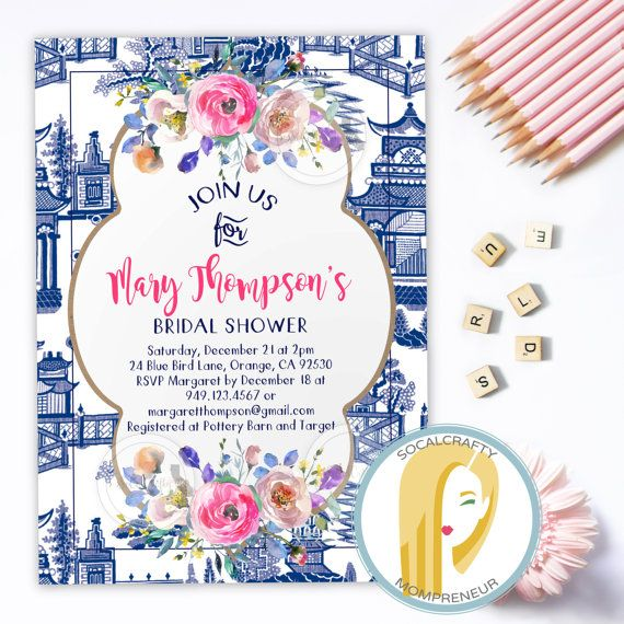 China print bridal shower invitation chinoiserie invite ginger jar china print bridal shower invitation chinoiserie invite ginger jar blue white pink filmwisefo Image collections