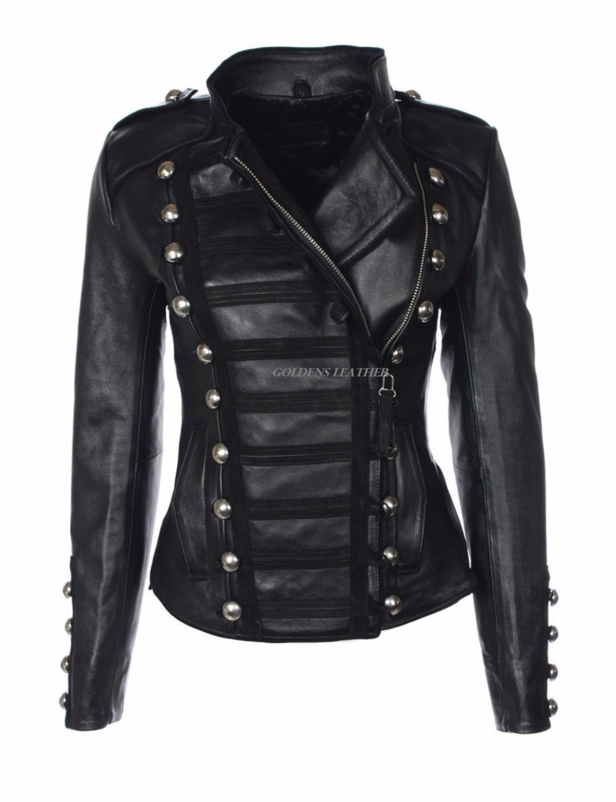 Designer Style Women Lambskin Leather Military Style Soft