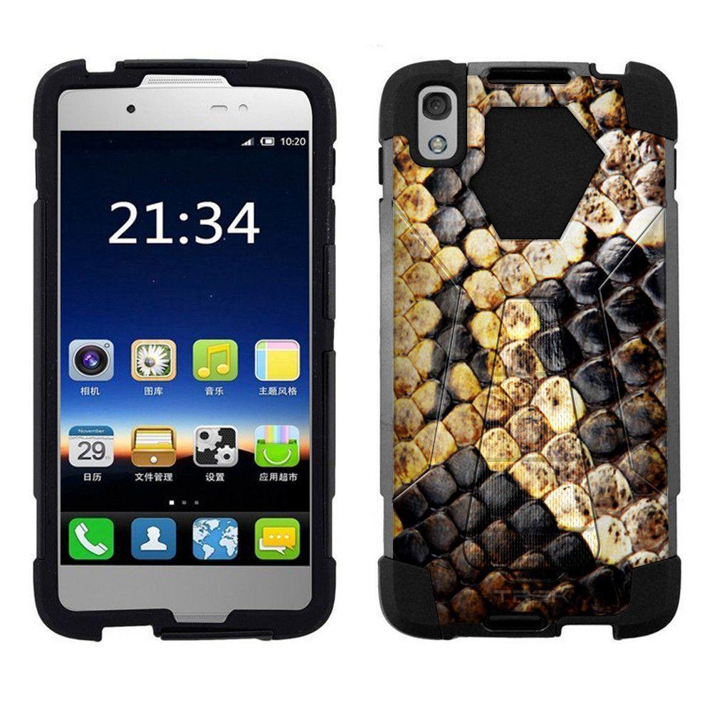Alcatel idol s snake fake black skin hybrid case products