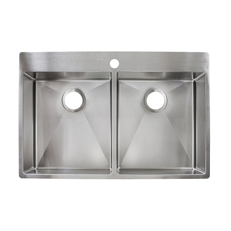 White apron sink lowes - Franke Fast In 33 5 In X 22 5 In Stainless Steel Double Basin Stainless Steel Drop In Or Undermount 1 Hole Commercial Residential Kitchen Sink Hf3322 1