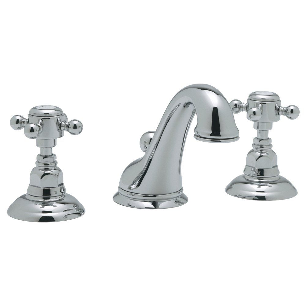 Rohl A1408XMAPC-2 C-Spout Widespread Bathroom Sink Faucet with Cross ...