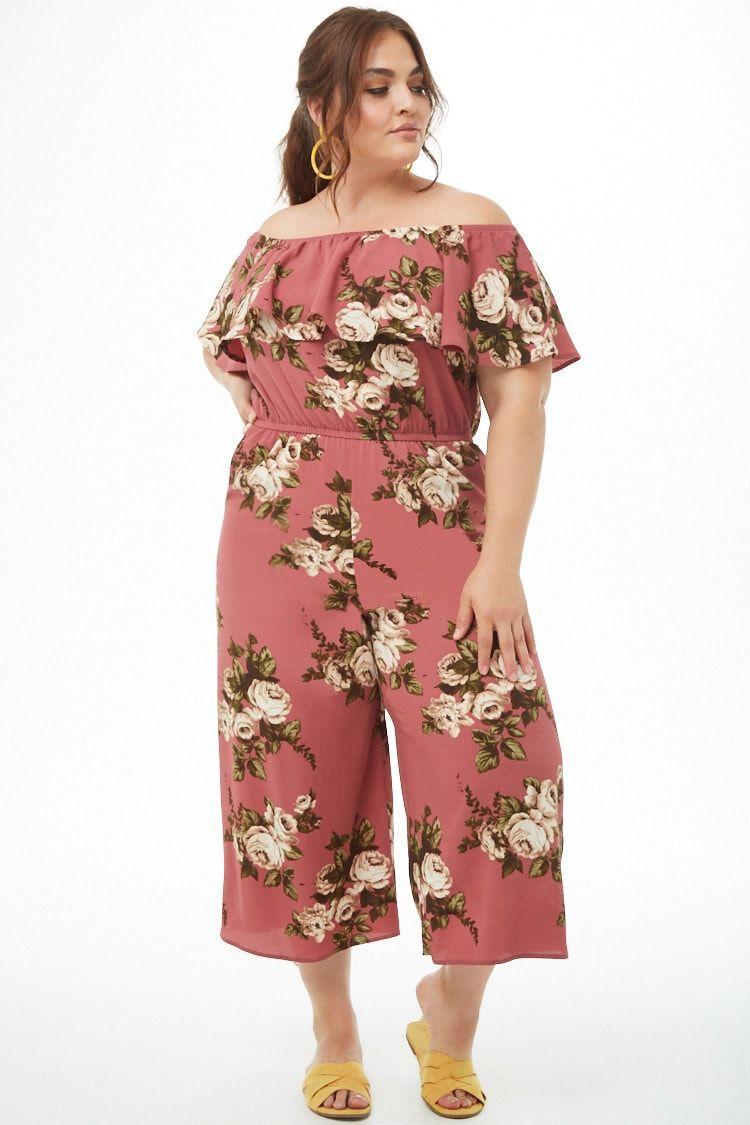 f59c5636d Plus Size Floral Off-the-Shoulder Jumpsuit