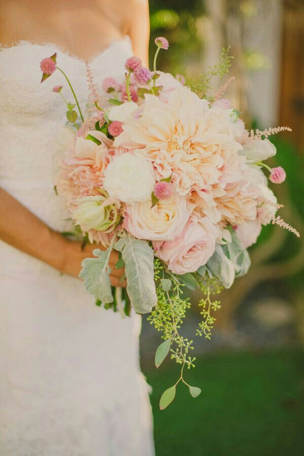 lovely bridal bouquet natural blush dahlias white ranunculus light blush garden roses