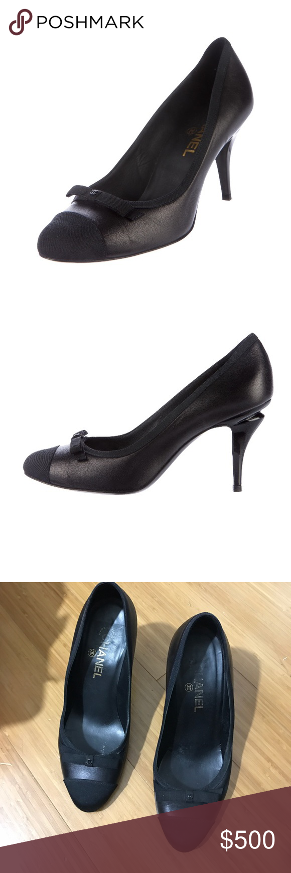 ff4bb5c731 Auth - CHANEL leather and grosgrain heels Black leather CHANEL pumps with  grosgrain trim