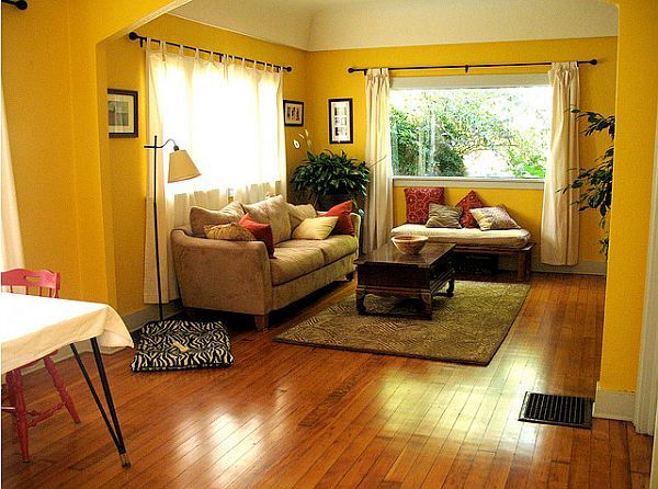 Yellow living room design ideas | Red accents, Living rooms and Walls