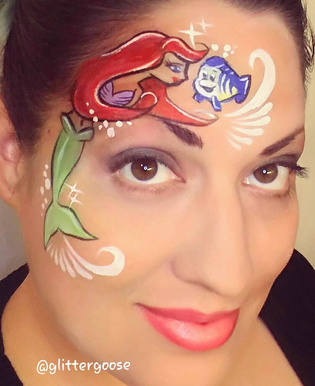 Little Mermaid And Flounder Face Painting By Glitter Goose Eye