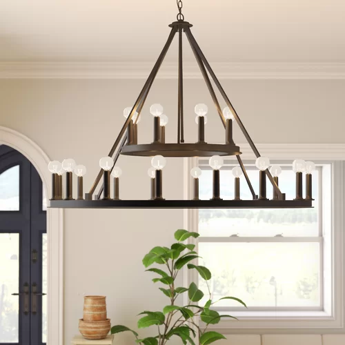 Shayla 20 Light Candle Style Wagon Wheel Chandelier In 2020