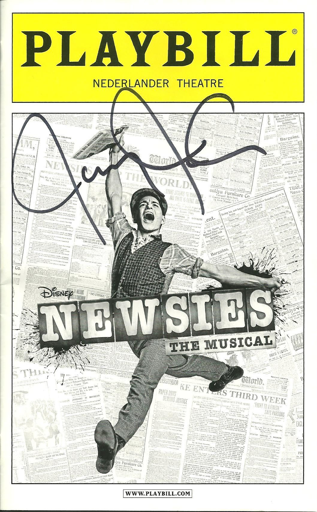 Signed Newsies Playbill: loved this movie as a kid now so want to see the musical.