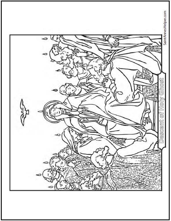 Pentecost Confirmation Catholic Sacraments Coloring Page