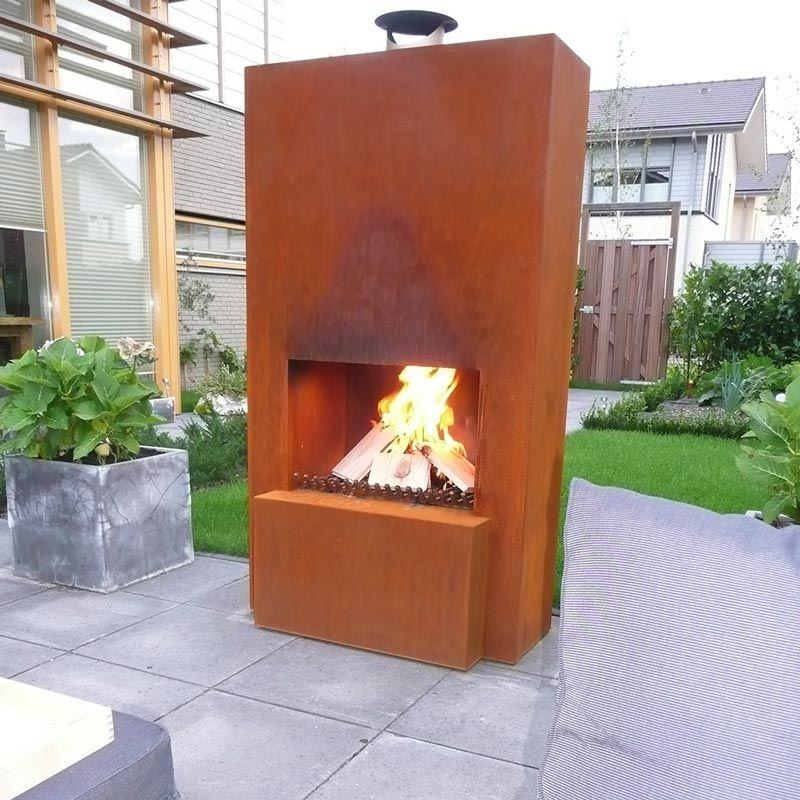 GardenMaxX Pinacate Outdoor Fireplace in Corten Steel Outdoor