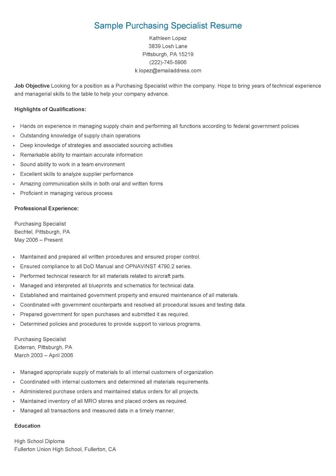 Sample Purchasing Specialist Resume Job Resume Examples Resume Resume Skills