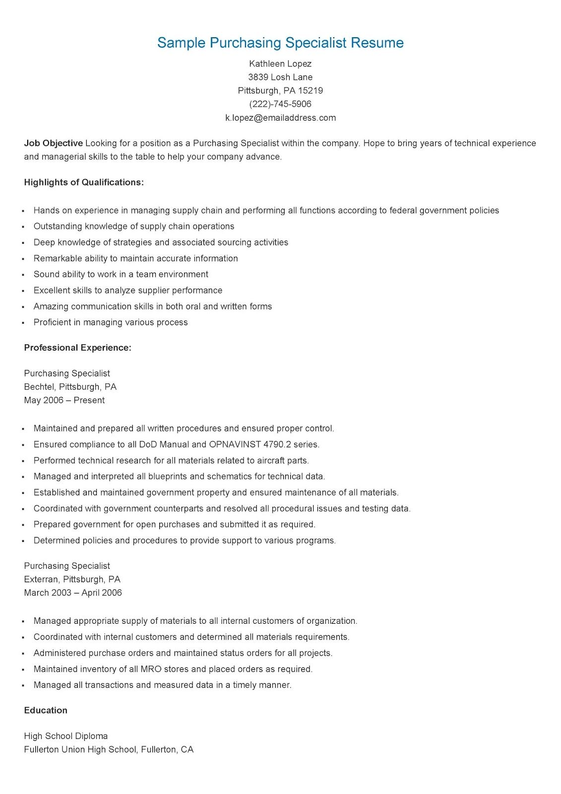 Sample Purchasing Specialist Resume Resume Job Resume Examples Resume Skills