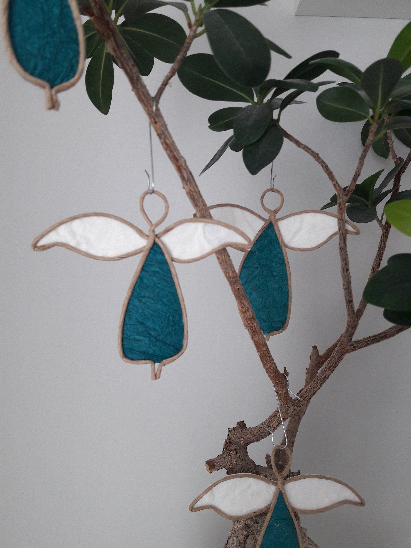 Papierdrahtfiguren – Engel Anhänger (blau): Wunderschöne Dekoration aus Papierdraht und hochwertigem Papier, ideal zur Taufe oder Hochzeit