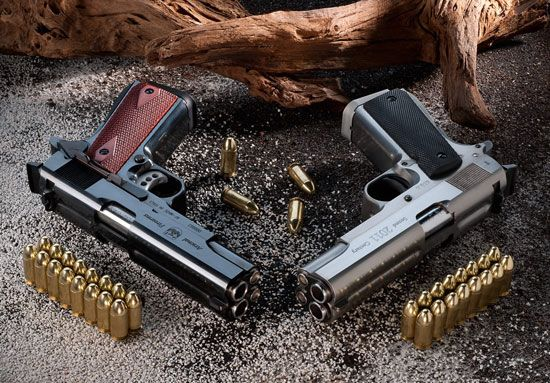 Colt 1911-A1 with twin .45 caliber barrels that can carry eight bullets in each.