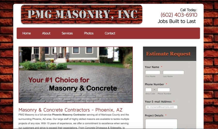 We design amazing websites for Masonry Contractors at affordable