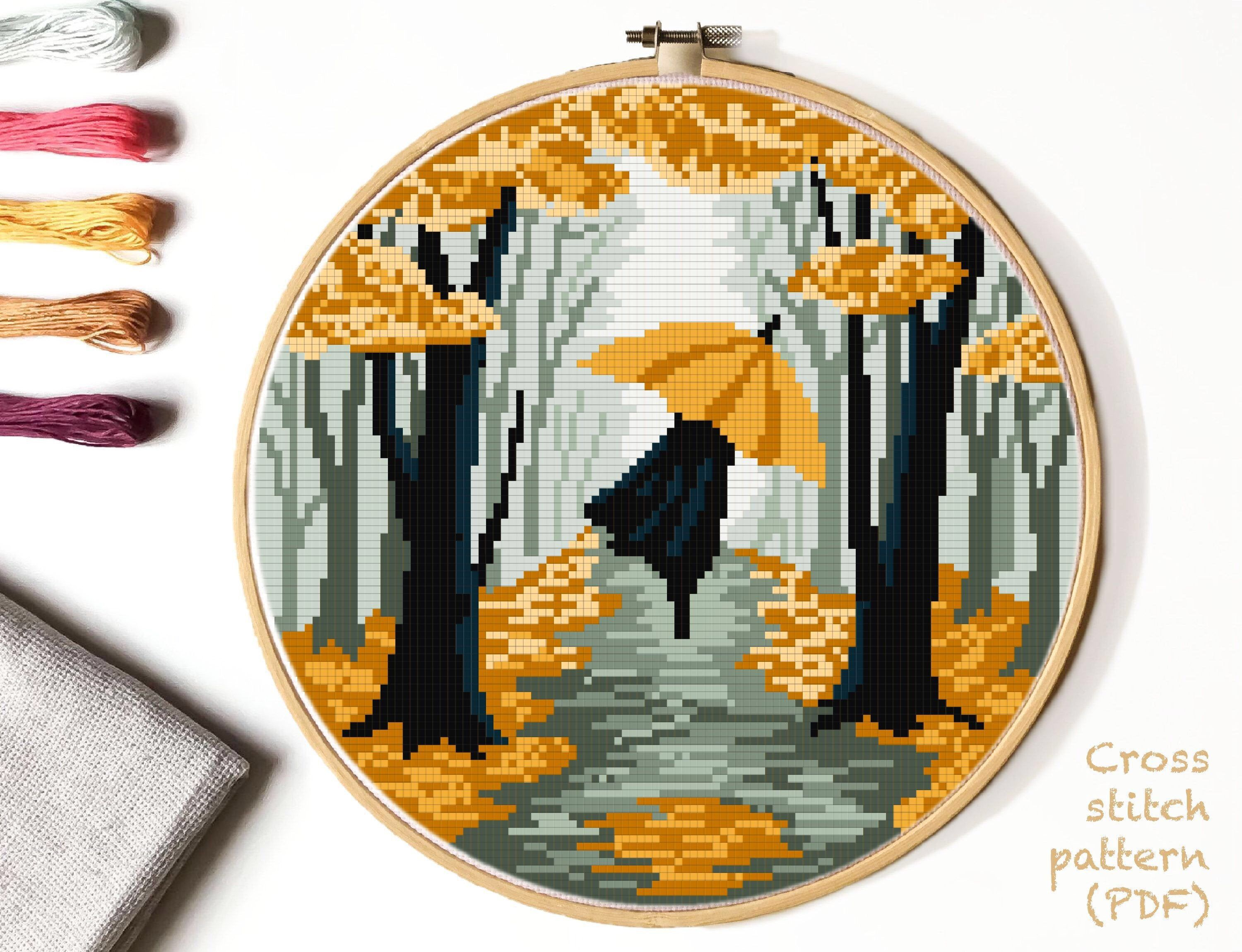 Photo of Autumn Landscape Modern Cross Stitch Pattern, nature, woman umbrella silhouette, easy counted chart, park, rain, instant download PDF