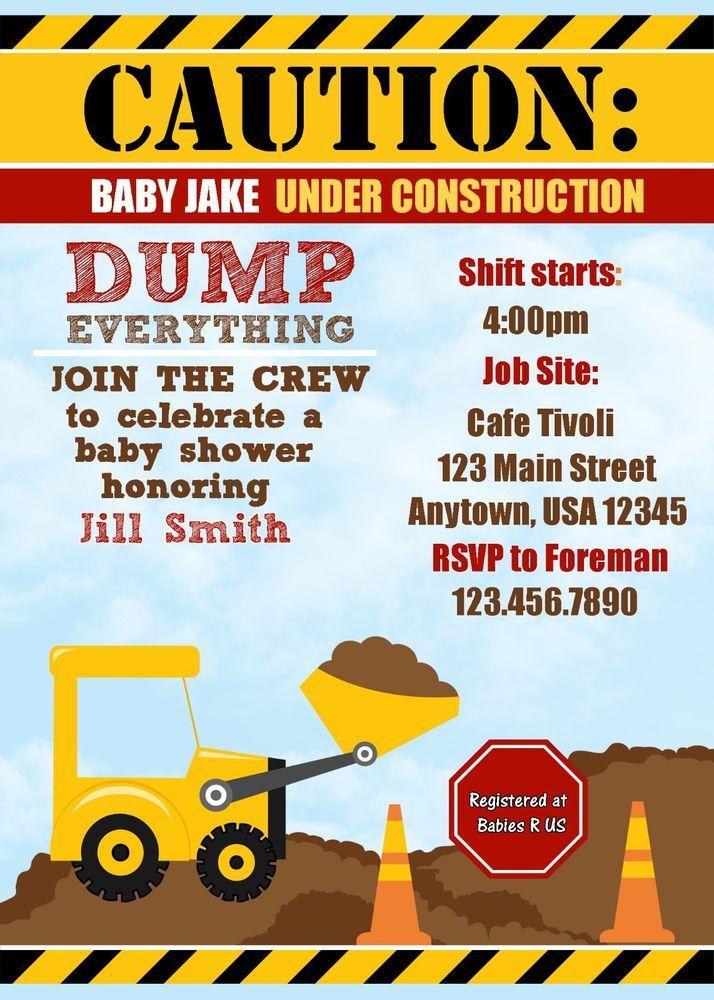 Construction Baby shower Invitation, Invitations, Dump Truck, Baby ...