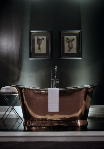 The William Holland Cuprosa Aequs bath is lovingly crafted by hand using traditional artisan techniques. Meticulously hand finished to order, each pure copper bath weighs little more than 45kg. Amazingly conductive and produced from 78% recycled sources, William Holland copper baths surpass their cast iron and original copper counterparts in renovation versatility, heat economy and material sustainability - creating a product that is a true functional work of art. #bath #bathrooms #copper…