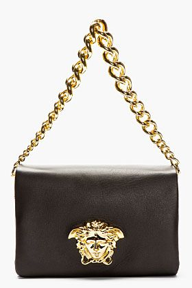 f396fff2f2 VERSACE Black leather Gold Logo Shoulder bag