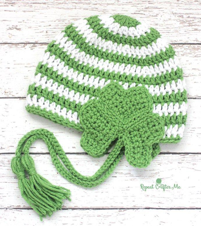 Crochet Shamrock Earflap Hat | Häkeln