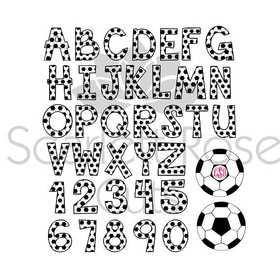 SOCCER ALPHABET SVG Files Soccer Alphabet Clipart Soccer Alphabet for Cricut Soccer Font