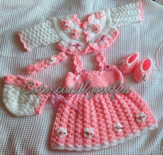 Bebé Crochet patrones patrón vestido bebé por CutenCuddlyOutfits ...