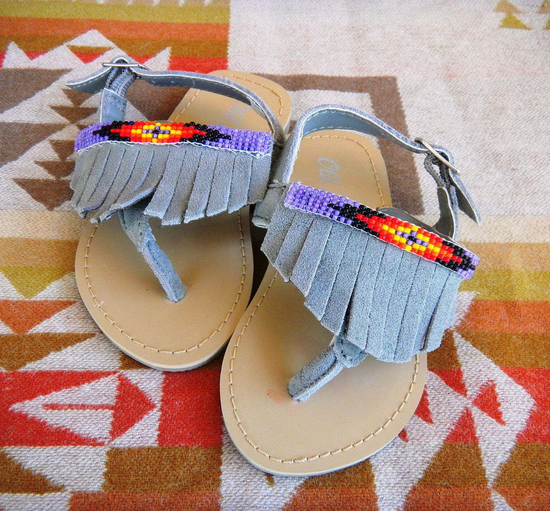 Native American Baby Girl Beaded Sandals
