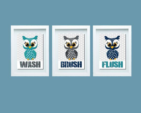 Owl Bathroom Decor, Owl Bathroom Set, Bathroom Rules, Wash Brush Flush, Kids Bathroom Decor, Kids Ba Owl Bathroom Decor, Owl Bathroom Set, Bathroom Rules, Wash Brush Flush, Kids Bathroom Decor, Kids Ba Bathroom Decoration owl bathroom decor