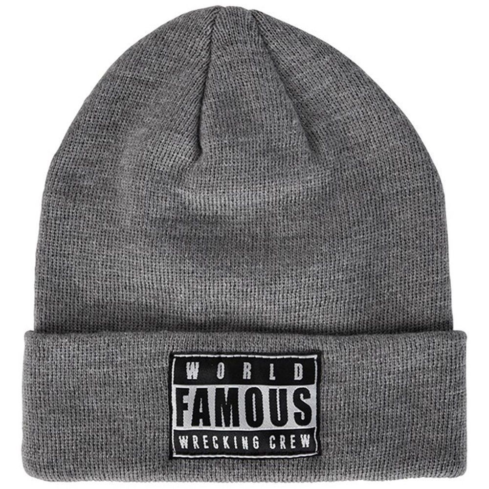 74be02d71f8 Famous Stars   Straps WFWC Roll Up Beanie World Famous Wrecking Crew Gray  Knit  FamousStarsStraps  Beanie