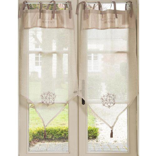 rideau court nouettes en lin beige 60 x 110 cm mas du. Black Bedroom Furniture Sets. Home Design Ideas