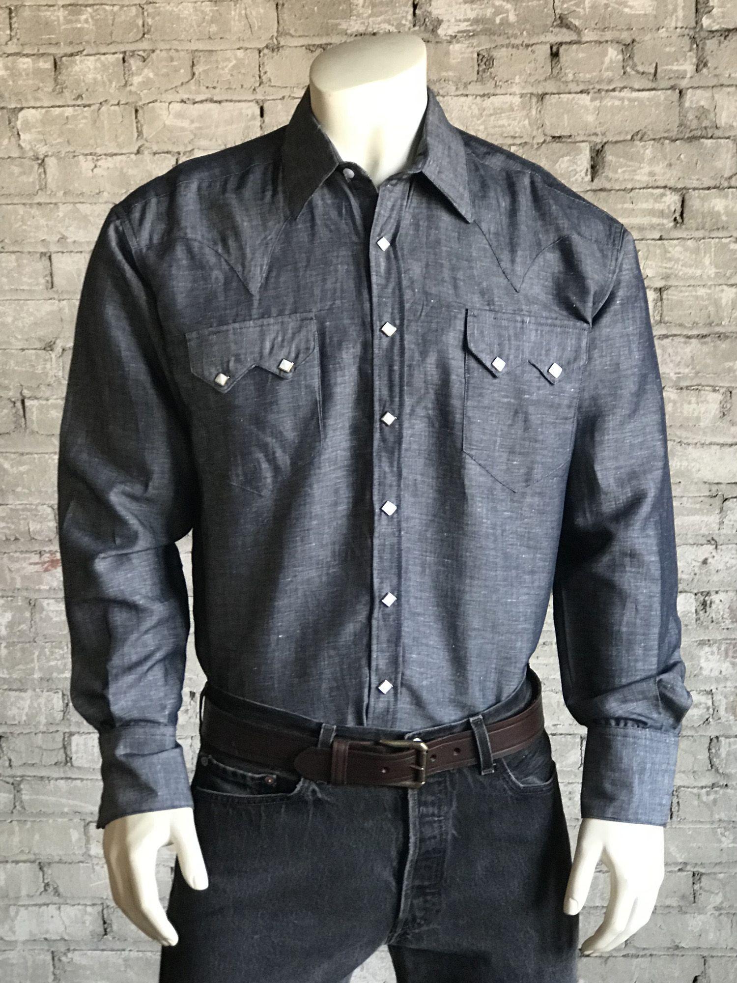 06d306a475 Men s Classic Indigo Blue Linen Western Shirt
