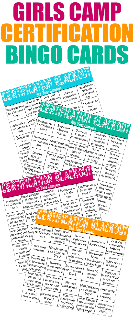 Girls Camp Certification Blackout Cards – Play.Party.Plan