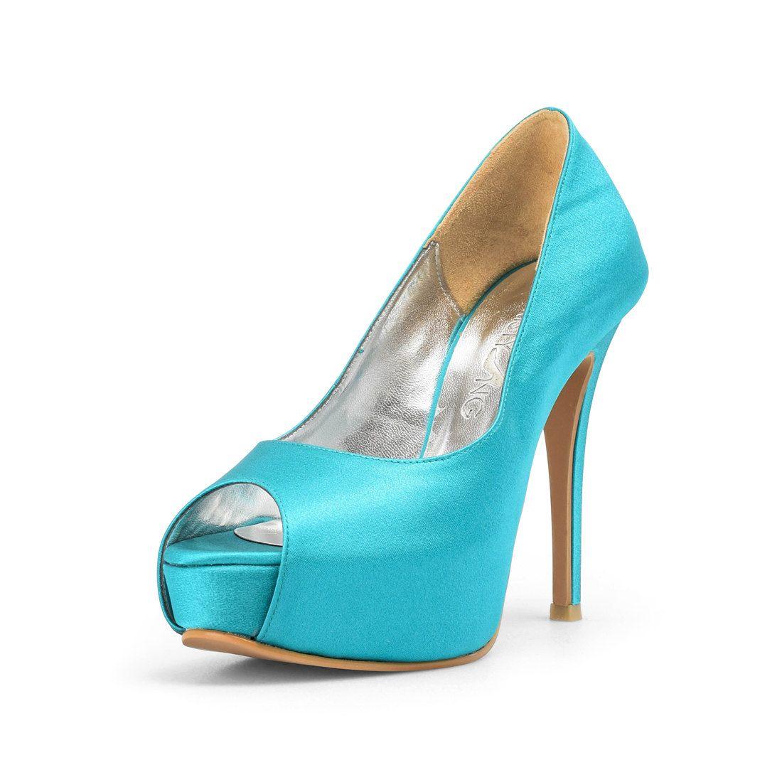 Azure Blue Wedding Shoes Satin Custom Made Heels Something