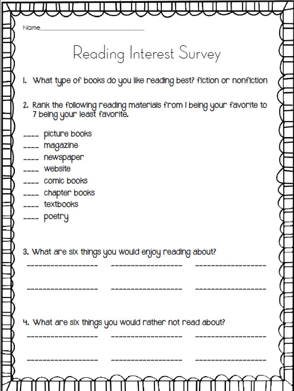 Free Reading Interest Survey