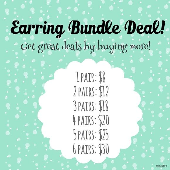 Earrings - Buy More and Save! Get a special discount on multiple pairs of earrings. Bundle and save! Simply let me know which pairs you want and I will bundle them for you with the discounted price shown according to how many pairs are purchased. Jewelry Earrings