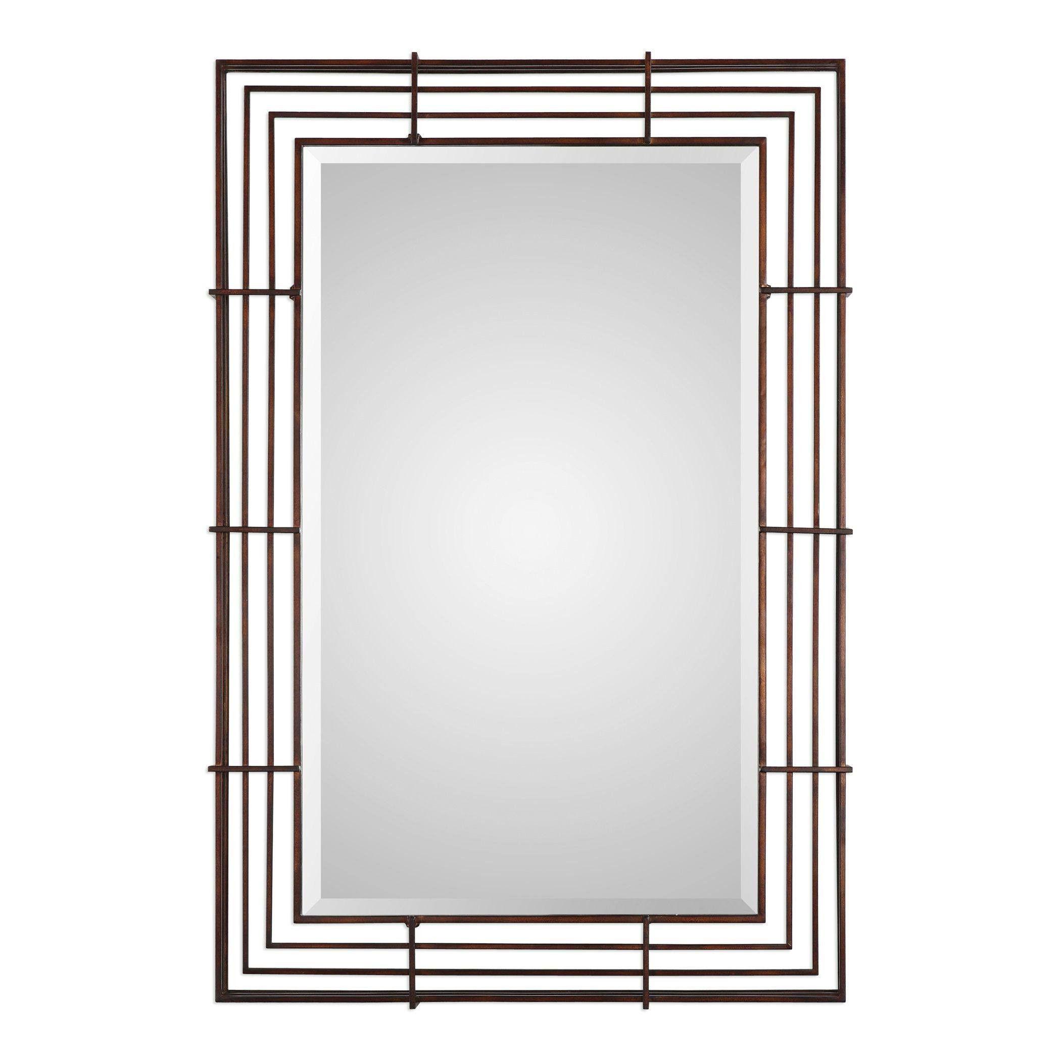 "Perlo Rust Bronze Mirror 32""x48""x3"""