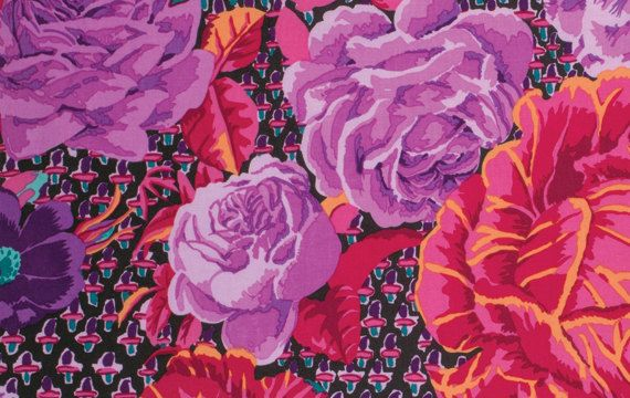 CABBAGE ROSE Wine GP38 by Kaffe Fassett sold by SewColorfulQuilts, $5.25
