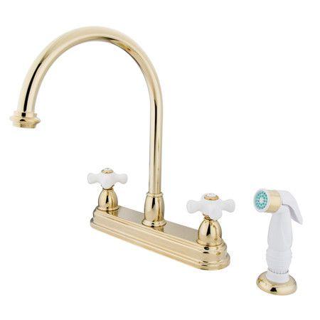 """Deck Mount 8"""" Double Handle Centerset Kitchen Faucet with Porcelain Cross Handles"""