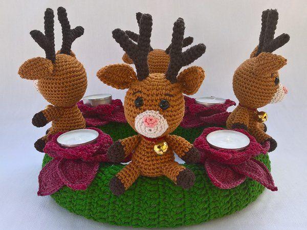 Photo of Crochet advent wreath // moose as advent wreath